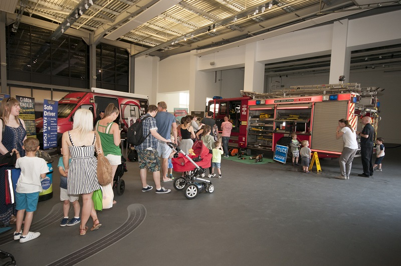 the fire engine inside the gallery