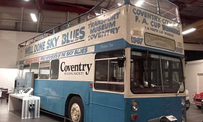 the famous Sky Blues bus painted in blue and white