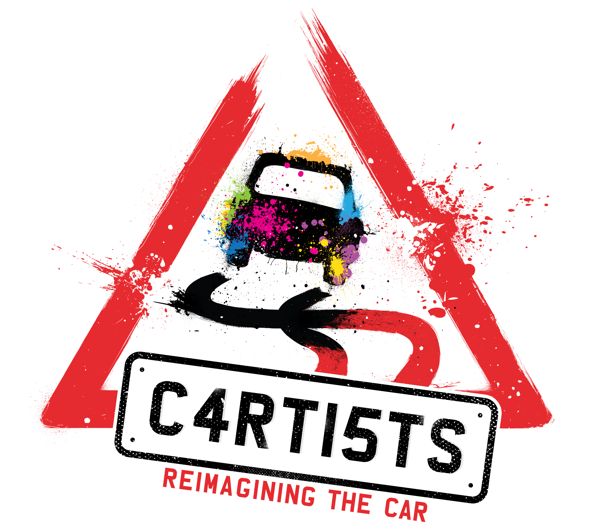 cartists image - a paint spattered road sign of a car